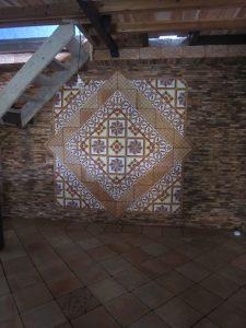 Mosaico Hidraulico Ref 41 Faixa Pajaritos Ref 172 Terracota Manual Painel decorativo 3