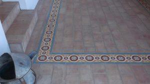Ref 167 Mosaico Hidraulico Faixa Estrella e Ref 202 Ladrilho Sta. Catarina 30×15x2cm Barro ao natural Herdade Dos Lagos Hdl